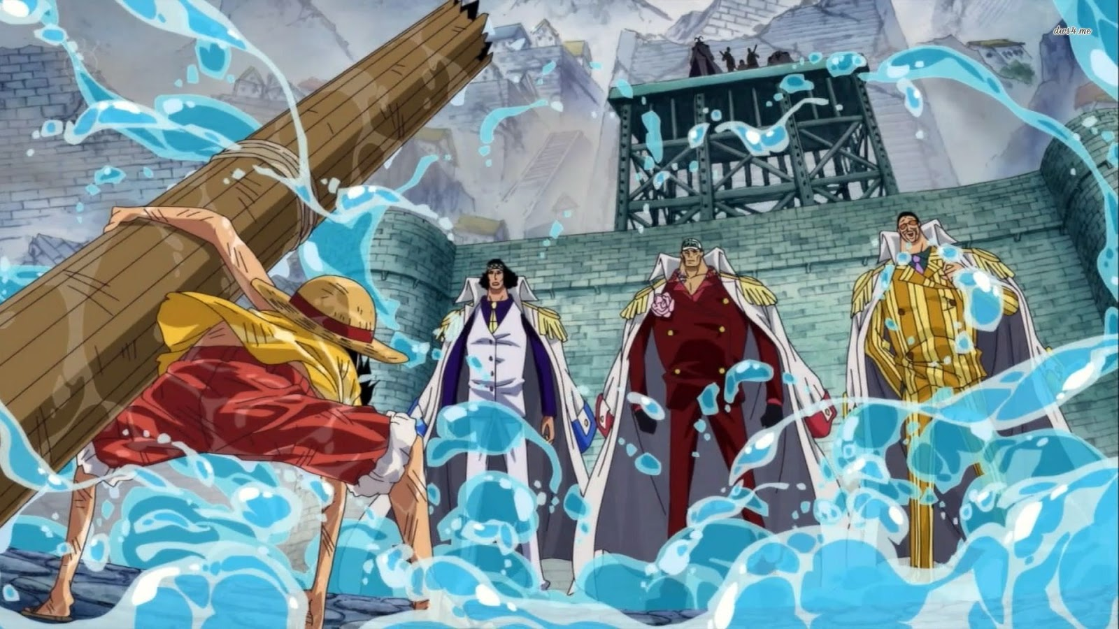 One Piece Marine Ford War Luffy Kuzan Akainu Kizaru Anime HD Wallpaper 1600x900