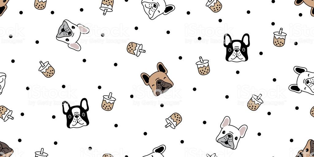 Dog Seamless Pattern French Bulldog Vector Boba Tea Bubble Milk 1024x512