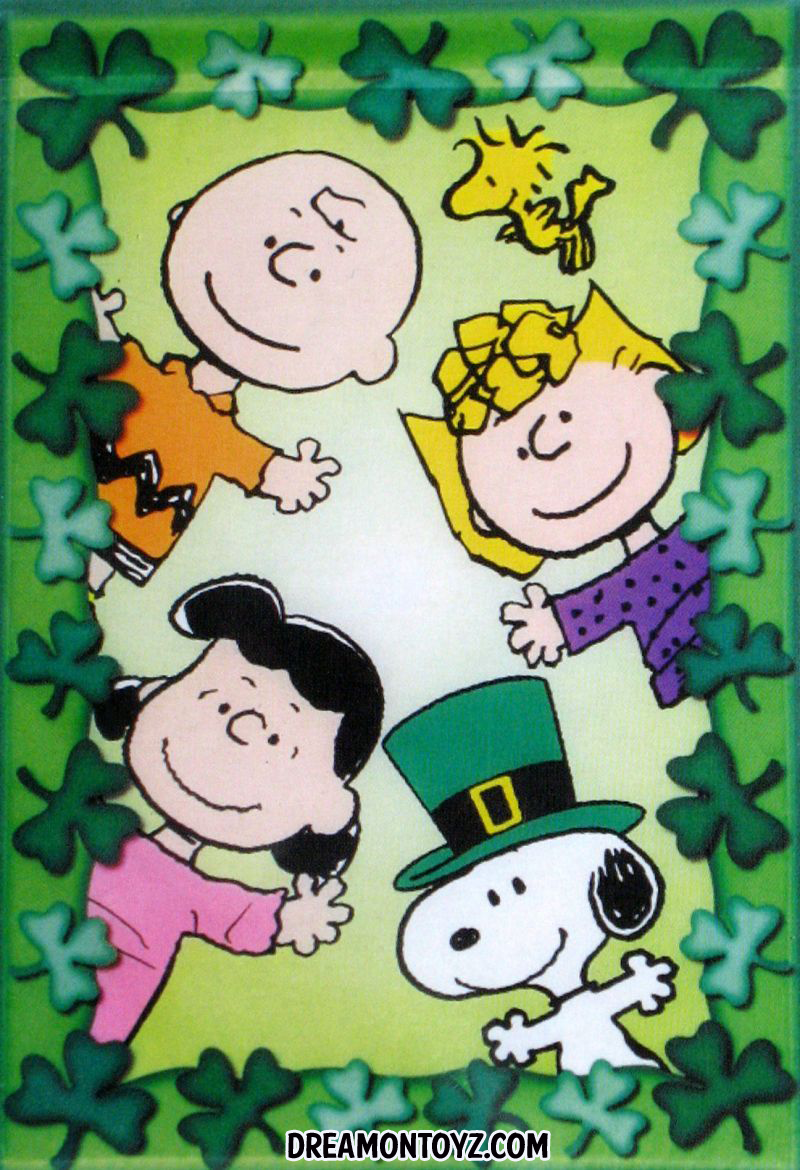 Sally Brown Lucy Van Pelt and Snoopy surrounded by shamrocks 800x1170