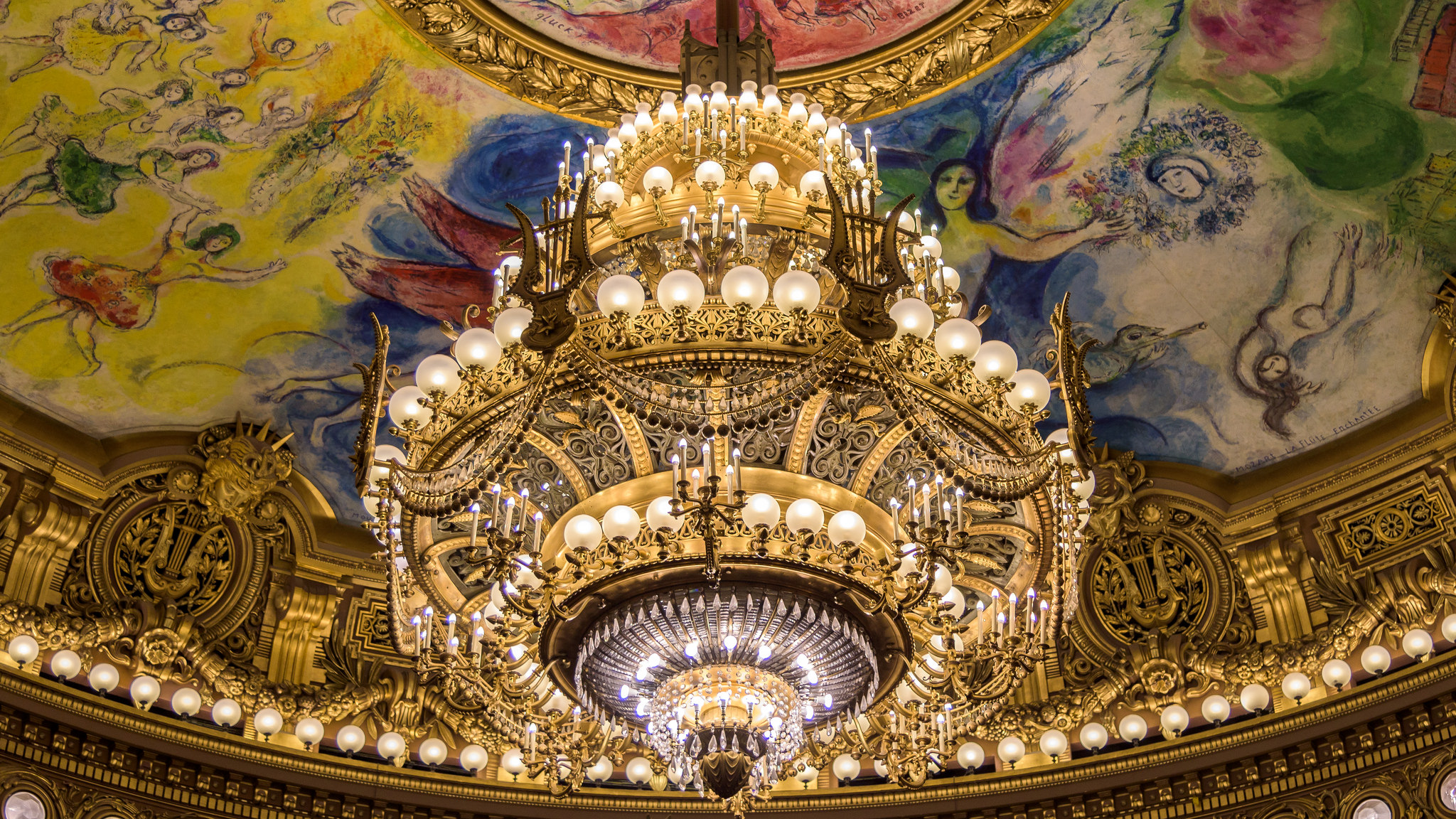 Chandelier in the Palais Garnier Paris HD Wallpaper Background 2048x1152
