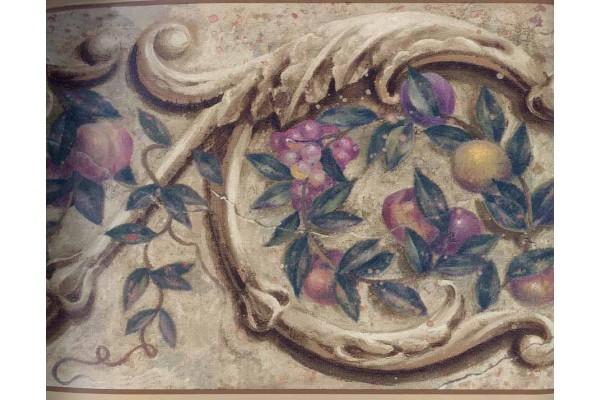 Home Vintage Borders Floral Fruit Wallpaper Border 1172PZ 600x400