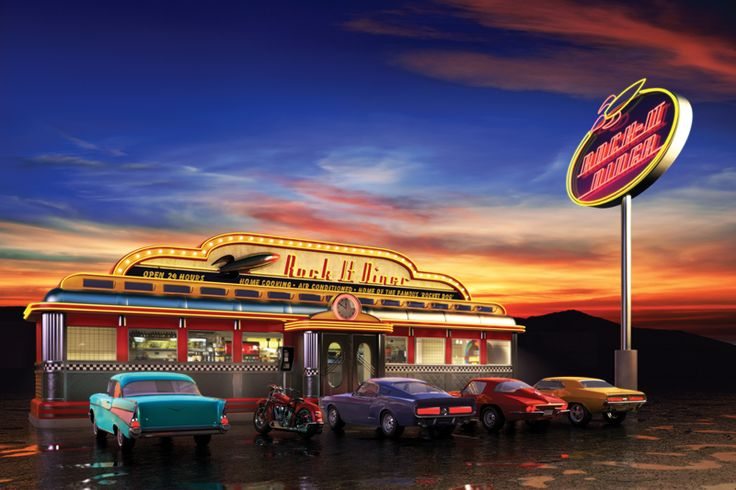 40s 50s Classic Retro Pinterest Diners Wall Murals and Murals 736x490