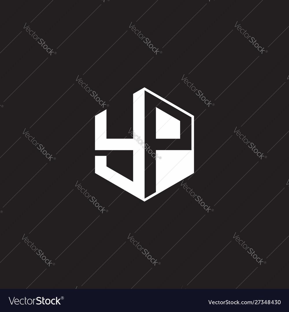 Yp logo monogram hexagon with black background Vector Image 1000x1080
