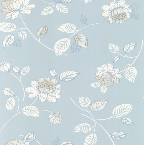 Modern White and Cream Jacobean Floral 0n by WallpaperYourWorld 570x576
