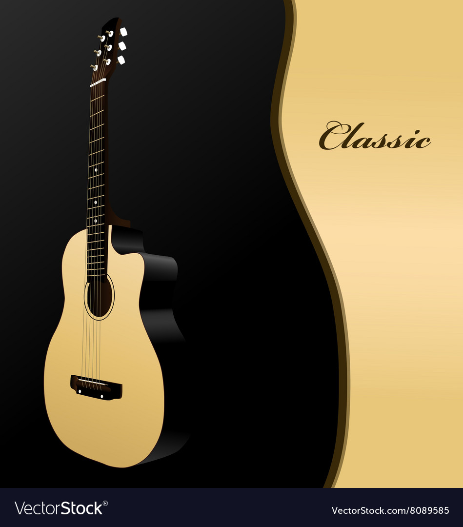 Classical acoustic guitar on black background Vector Image 949x1080