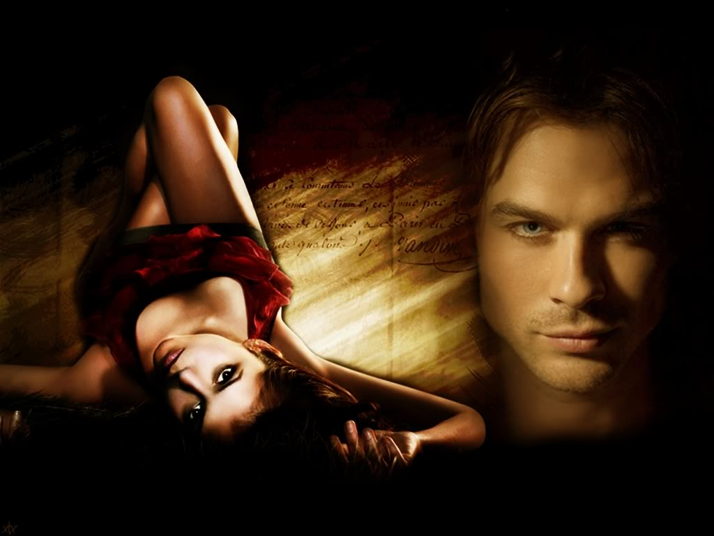 Daily wallpapers 001 Damon and Elena 1024x768