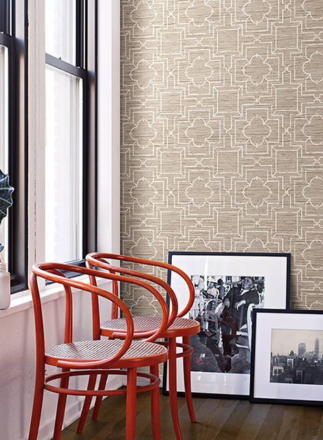 Faux Grasscloth Geometric Trellis Wallpaper contemporary wallpaper 470x640