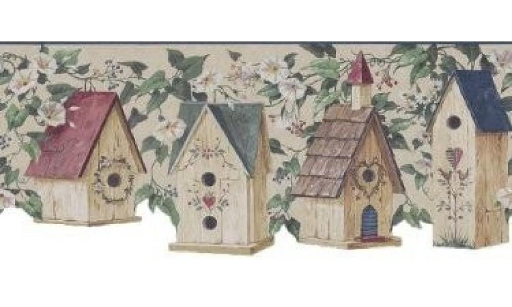 Home Bird Houses Blue Birdhouse Scalloped Wallpaper Border 1000x600