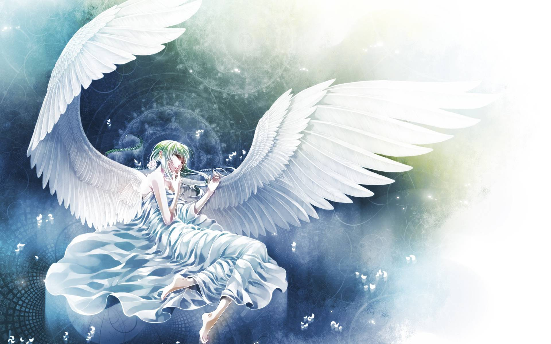 Beautiful white angel   Anime Manga Wallpaper 1920x1200