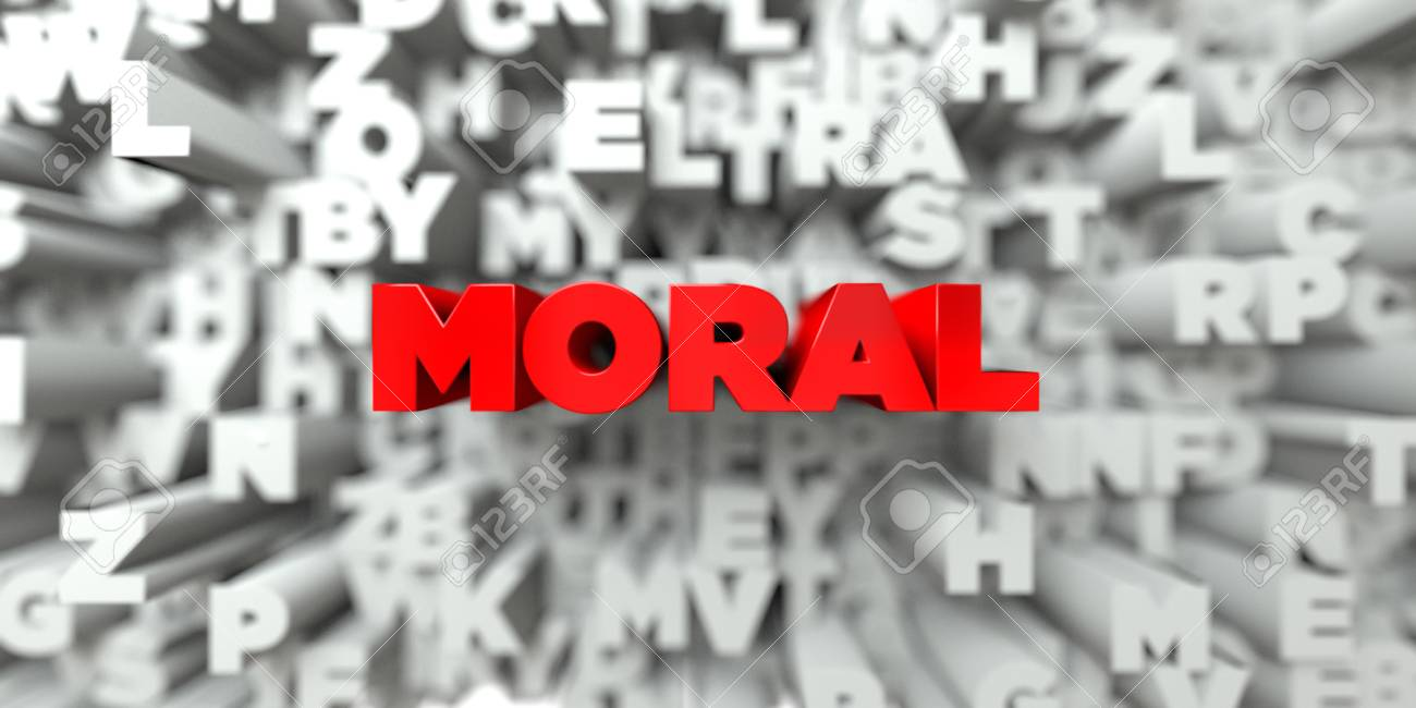 MORAL   Red Text On Typography Background   3D Rendered Royalty 1300x650