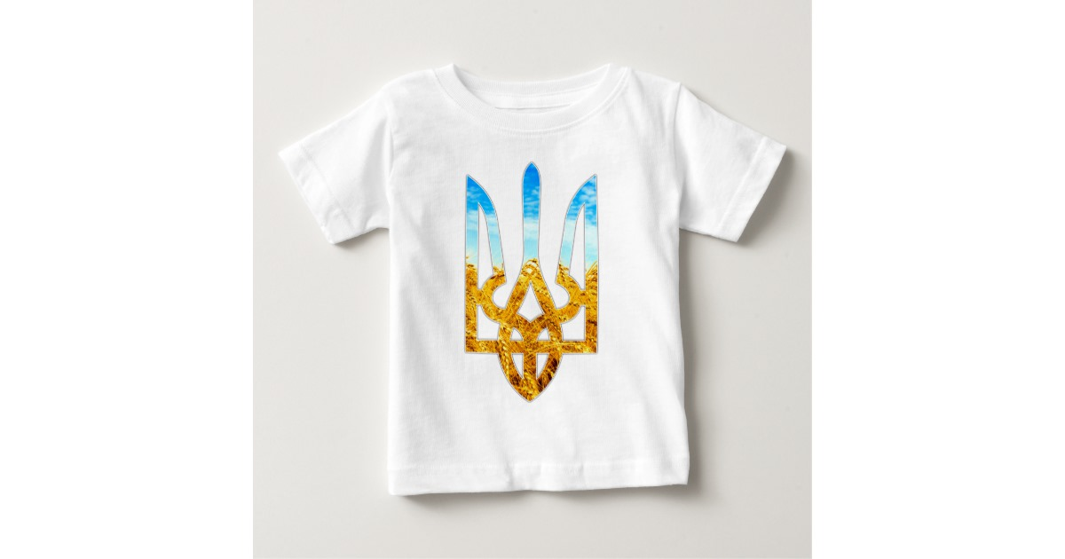 Ukrainian tryzub background of wheat and blue sky baby T Shirt 1200x630