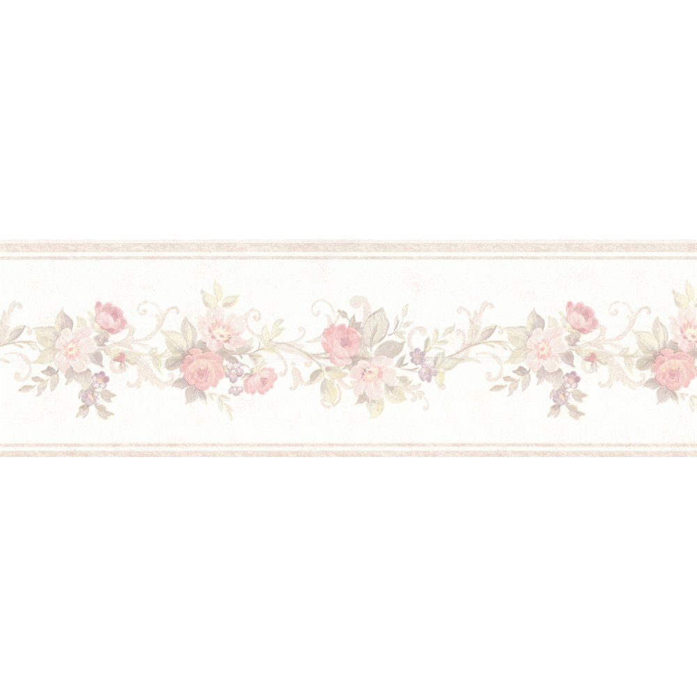 Home Fashions 992B0756 Vintage Rose Lory Floral Wallpaper Border 1000x1000
