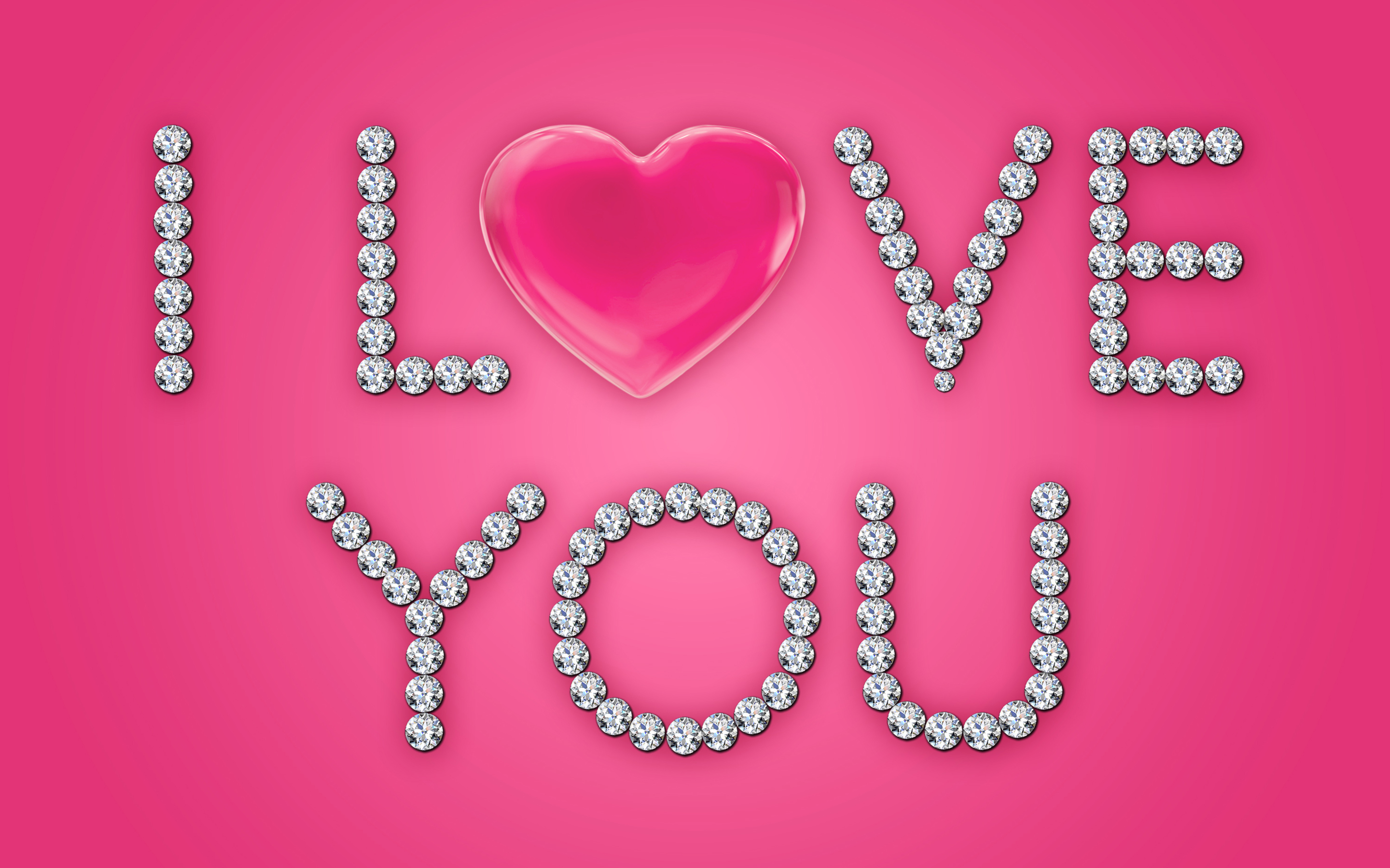 Love You Heart Diamonds Pink HD Wallpapers 2880x1800