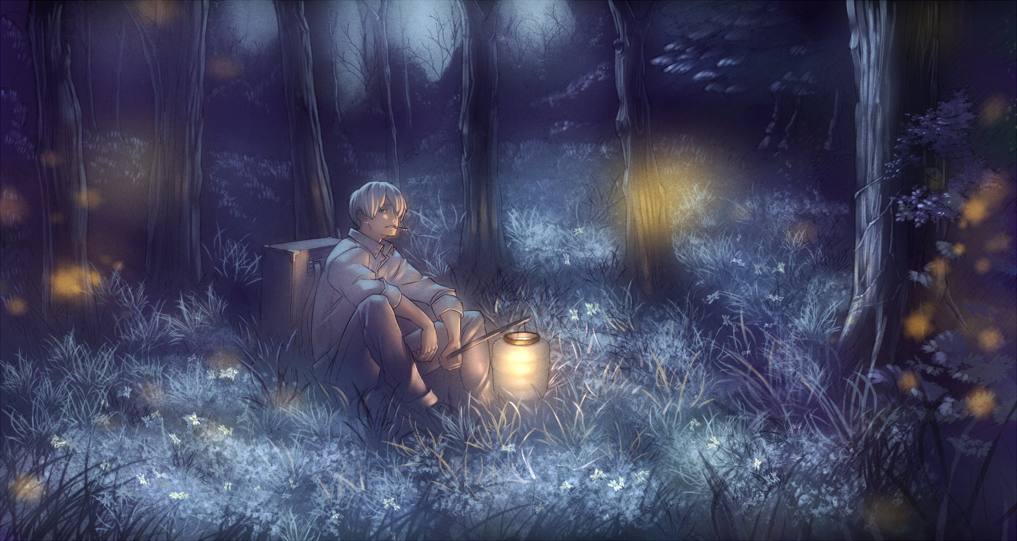all male chevasis forest ginko mushishi grass male mushishi night 2000x1065