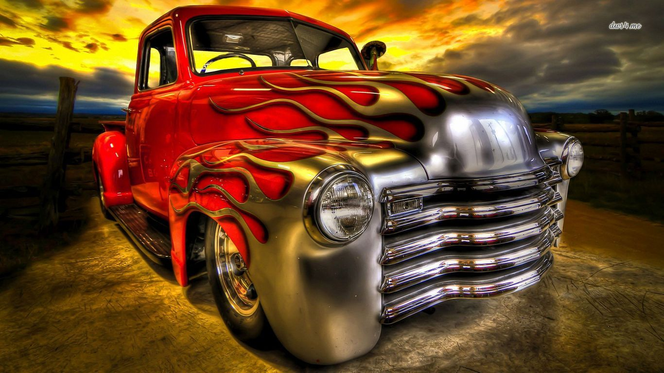 Hot rod with flaming paint wallpaper   Car wallpapers   30622 1366x768