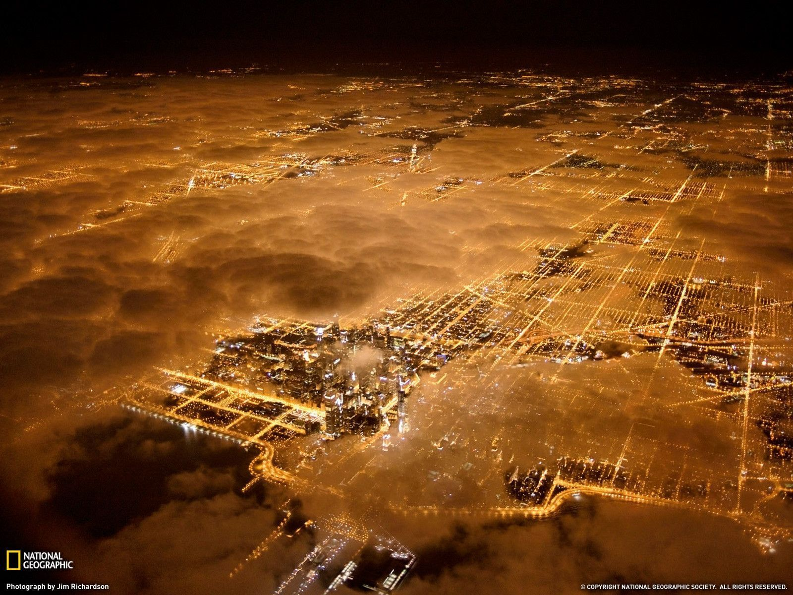 Chicago City Lights Picture Aerial Wallpaper   National Art 1600x1200