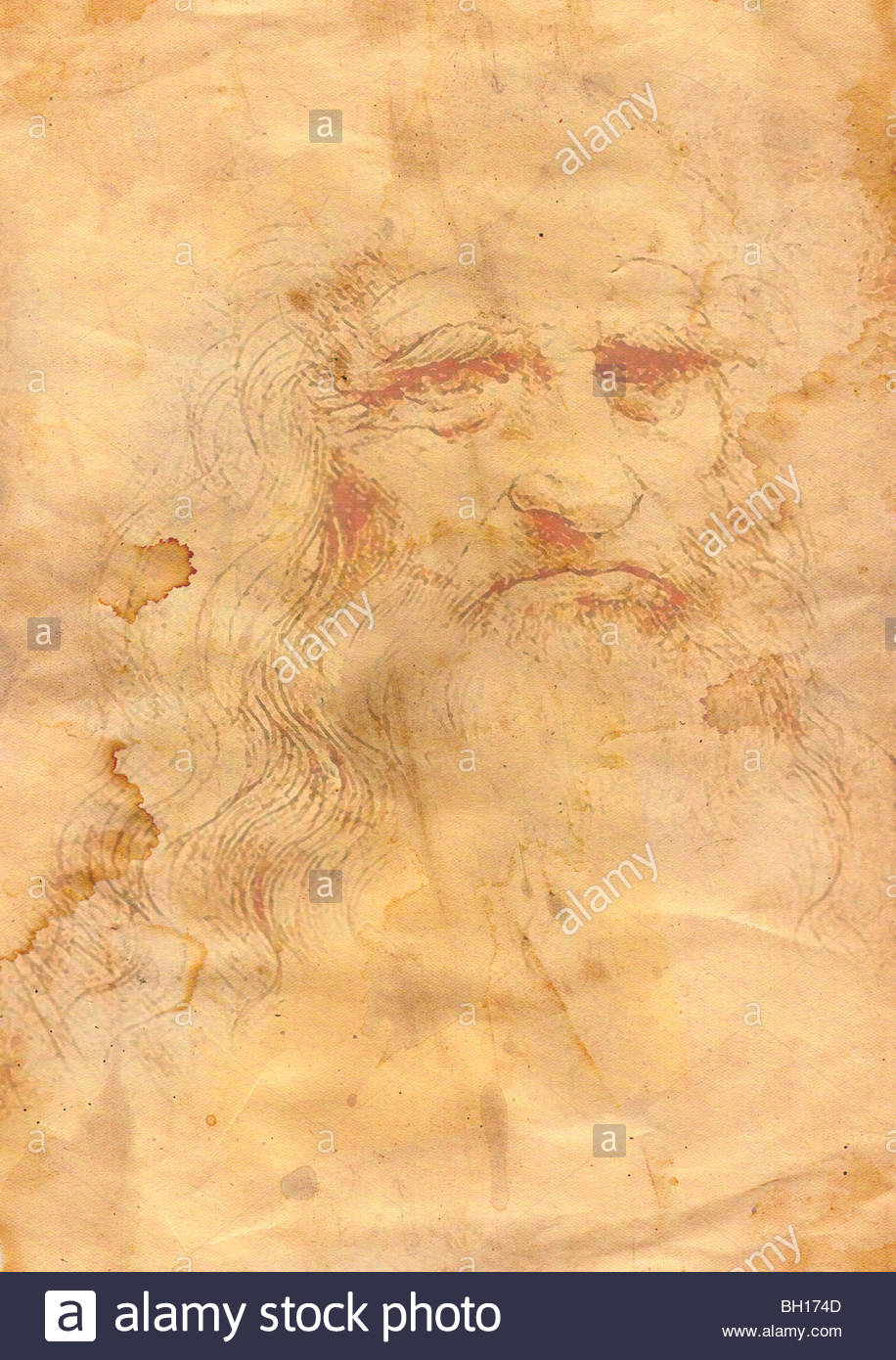 Abstract grunge background a la Leonardo da Vinci Stock Photo 916x1390