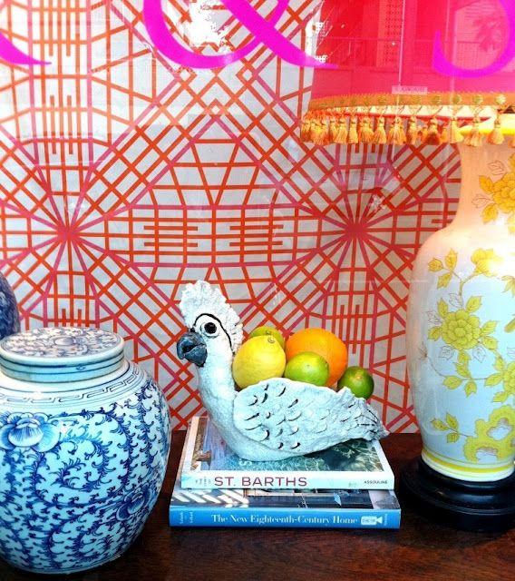 orange pink trellis wallpaper Styling Pinterest 568x640