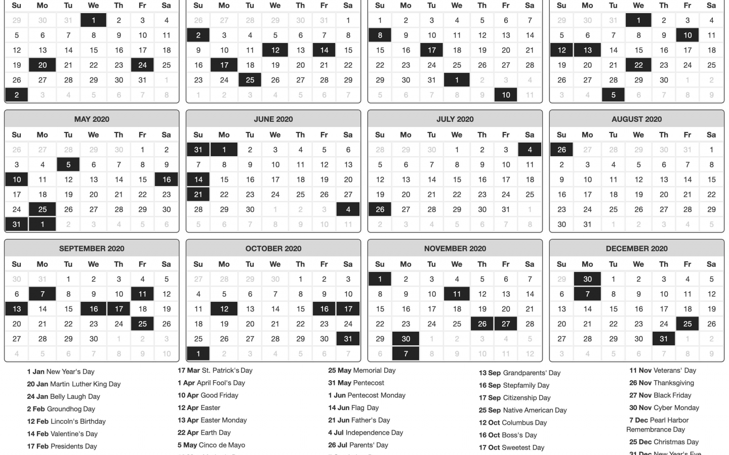 download 2020 Printable calendar posters images wallpapers 1440x900