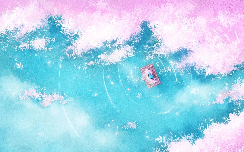 Download wallpaper 1440x900 lake raft silhouette shore art 1440x900