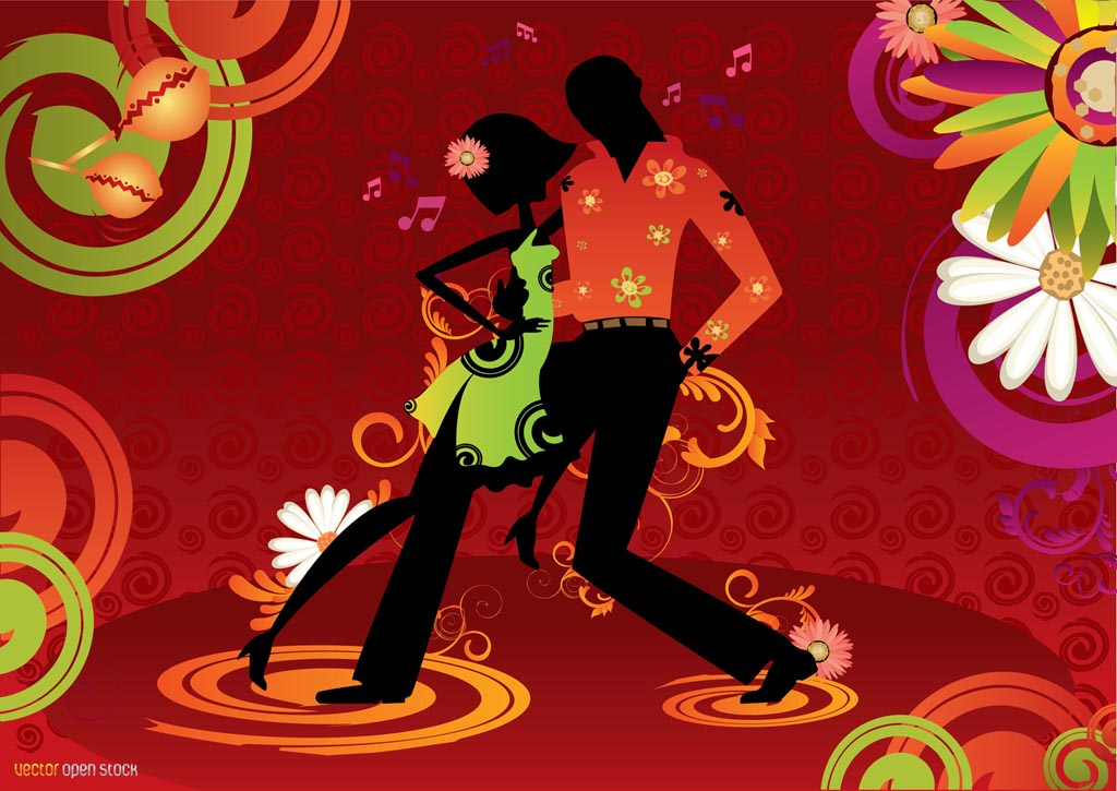 This Salsa and Latin dance inspired background design has a couple on 1024x725
