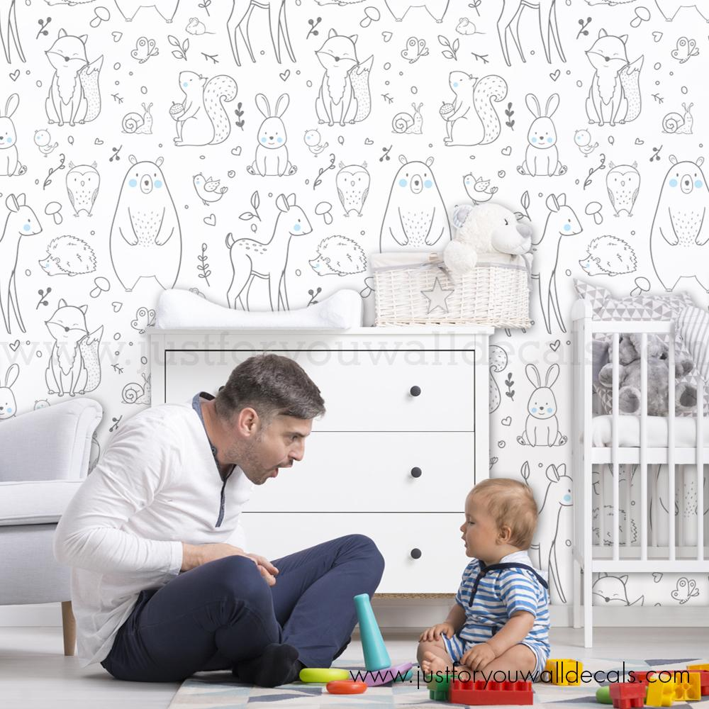 Free Download Forest Animal Removable Wallpaper Nursery Removable Wallpaper 1000x1000 For Your Desktop Mobile Tablet Explore 27 Wallpaper Nursery Nursery Wallpaper Baby Wallpaper Nursery Modern Nursery Wallpaper