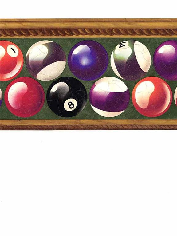 Details about Wallpaper Border Green Pool Table Balls 8 Ball 576x768