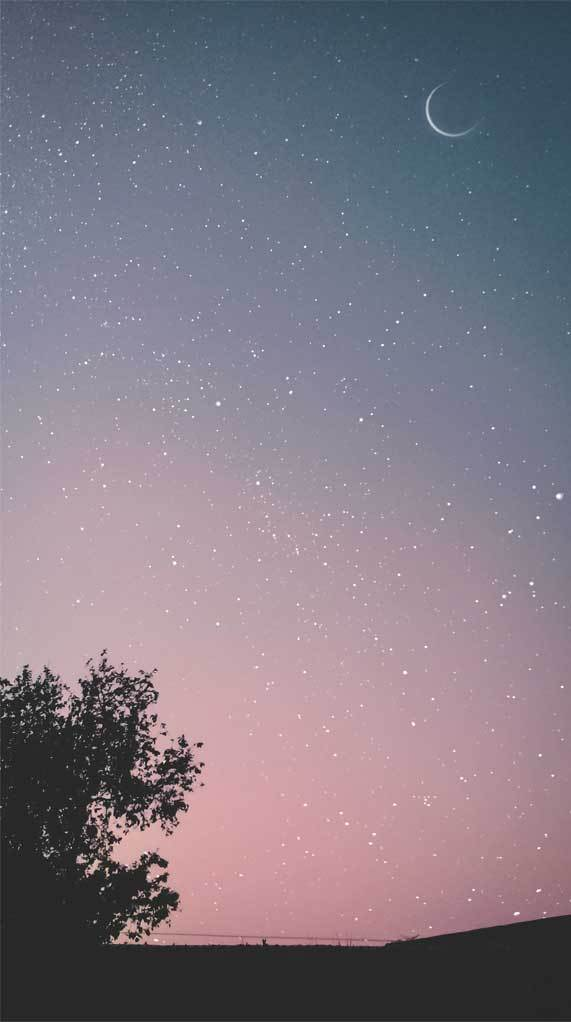 A million stars in the sky and the moon   Idea Wallpapers iPhone