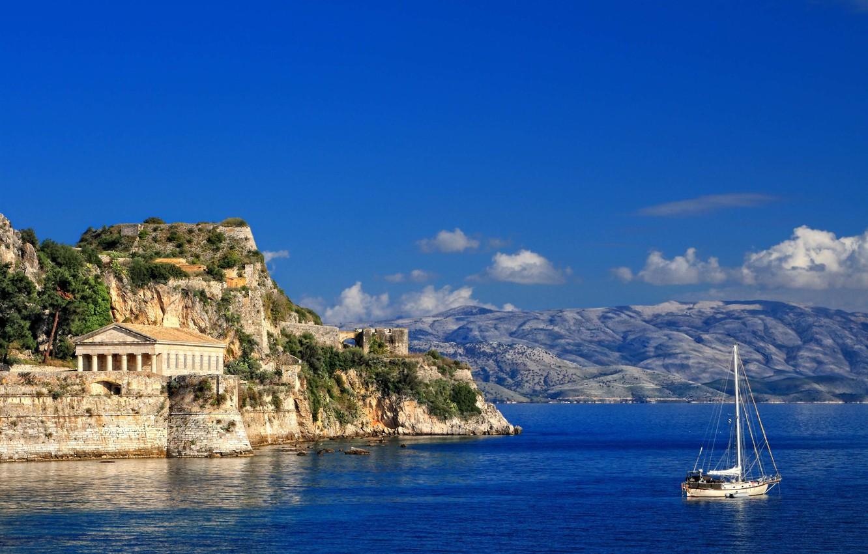 Wallpaper sea shore yacht Corfu images for desktop section 1332x850