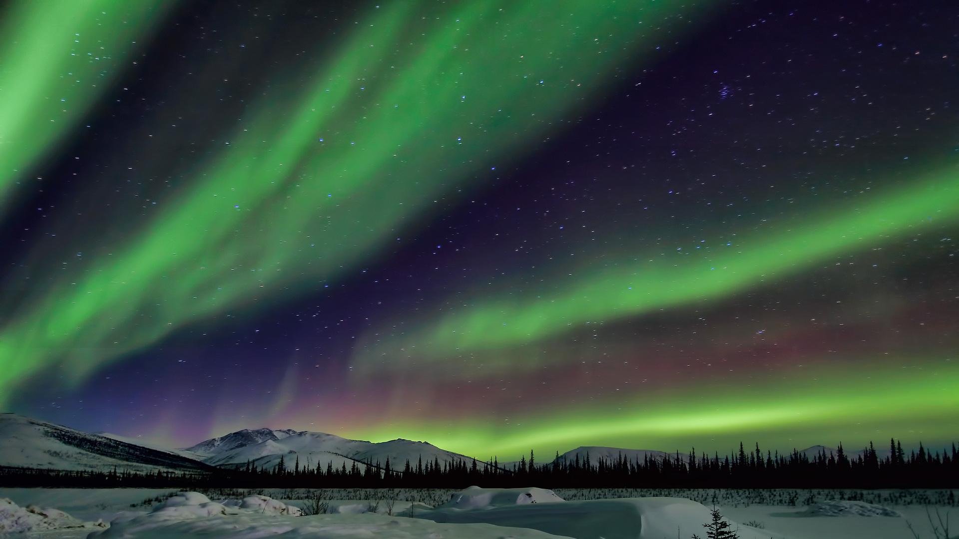 Beautiful Northern Lights Over Alskan Winter Lscape HD Desktop ...