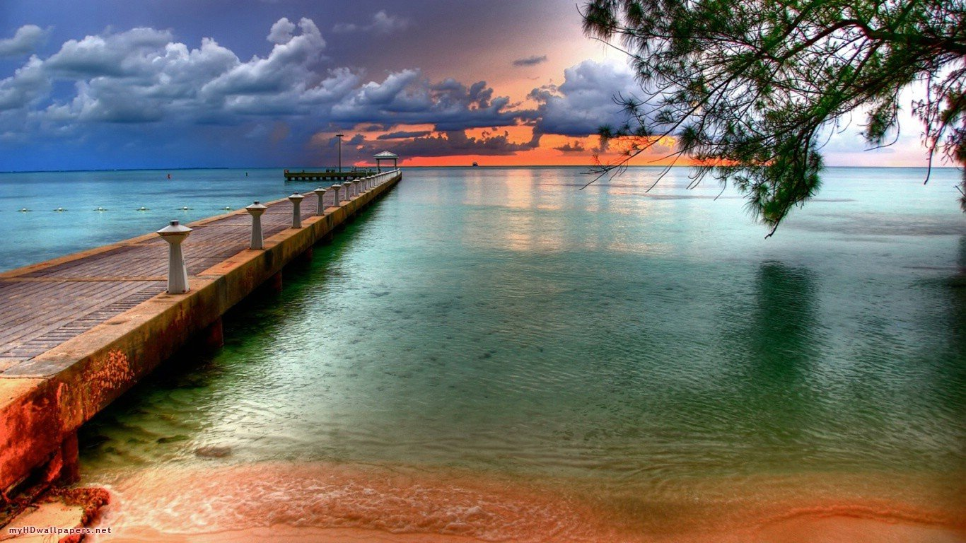 Beach sunset   Desktop Wallpaper HD Wallpapers Download and New 1366x768