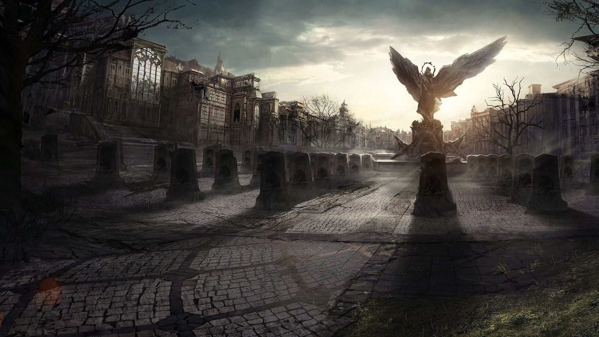 Angel statue in a destroyed city wallpapers and images   wallpapers 1920x1080
