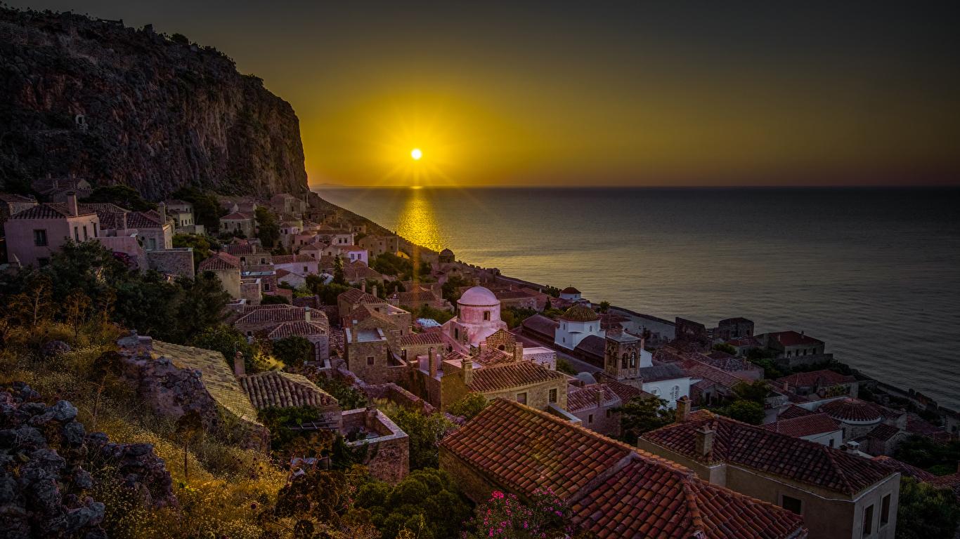 Photos Greece Monemvasia Sun Sea Roof Rock Sunrises and 1366x768 1366x768