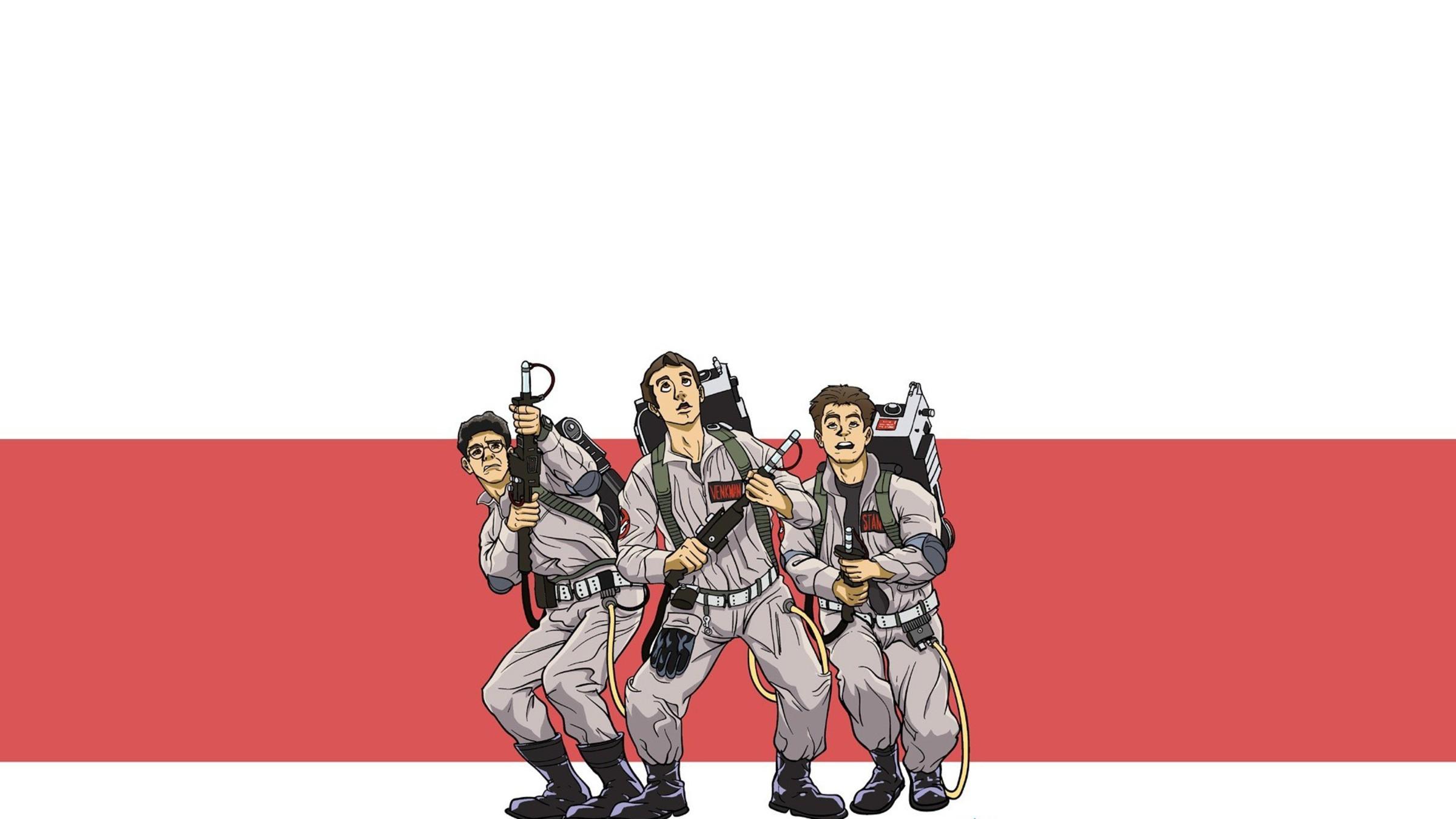 Movies cartoonish ghostbusters bill murray artwork dan aykroyd 2400x1350