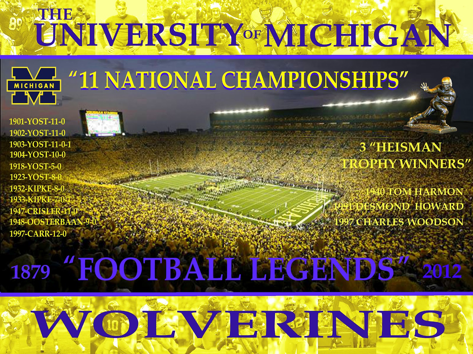 portrait and sports illustration Michigan Wolverines Legends Poster 1600x1200