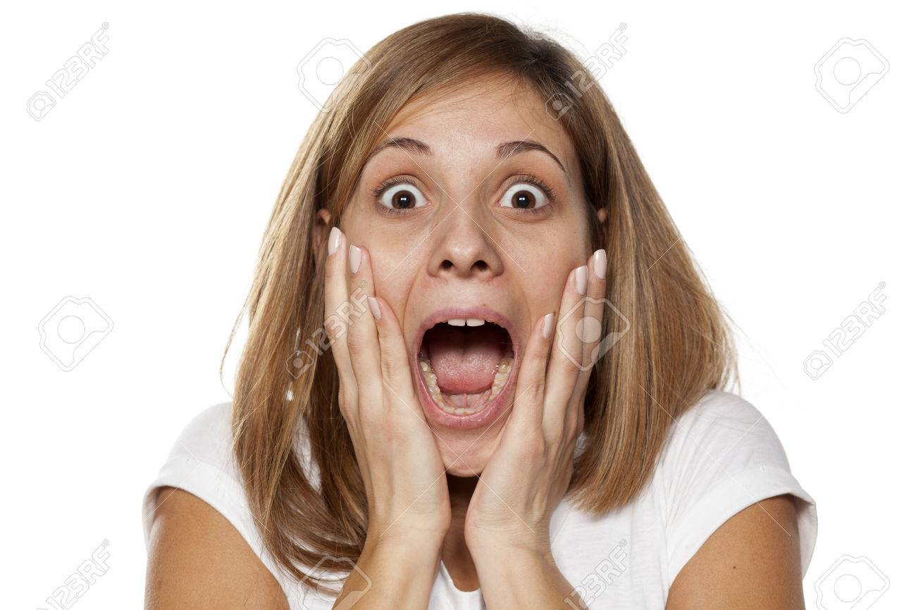 Shocked Young Woman Without Make up On A White Background Stock 1300x866