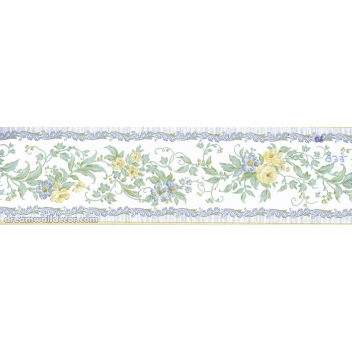 White Blue Yellow Running Rose Wallpaper Border 700x700