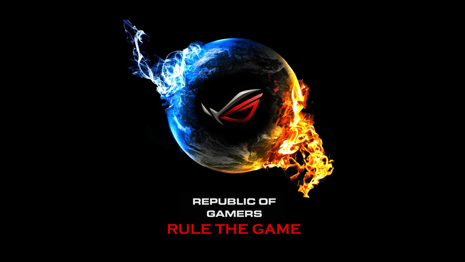 asus rog republic of gamers blue and red flame earth logo 1920x1080 1920x1080