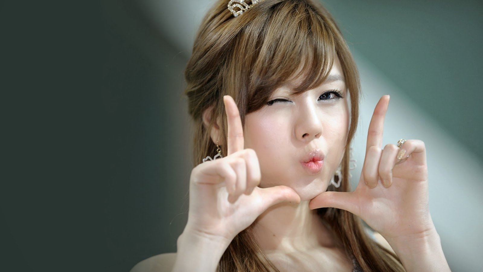 beautiful korean asian girl cute pose wink hd wallpaper 1920x1080 a549 1600x900