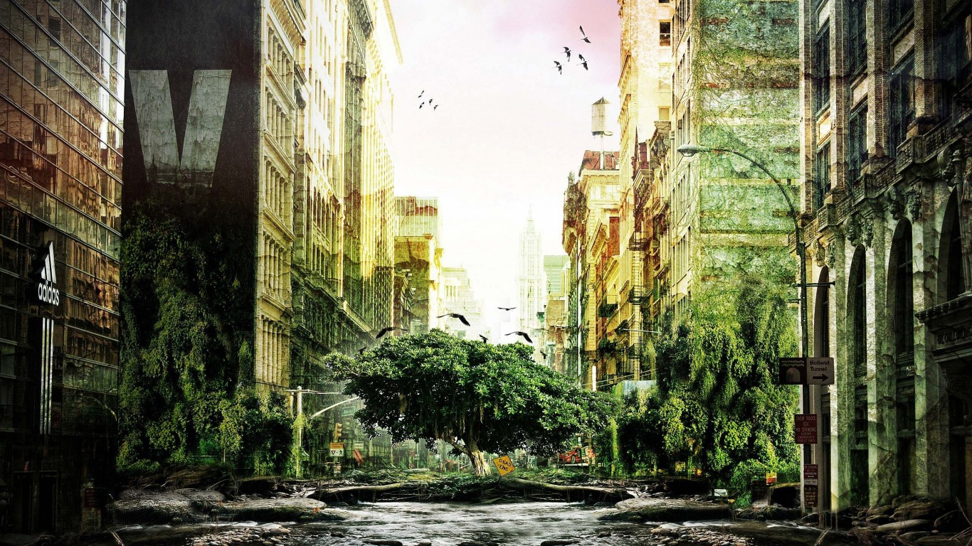 anime landscape city wallpaper android For Desktop 1366x768