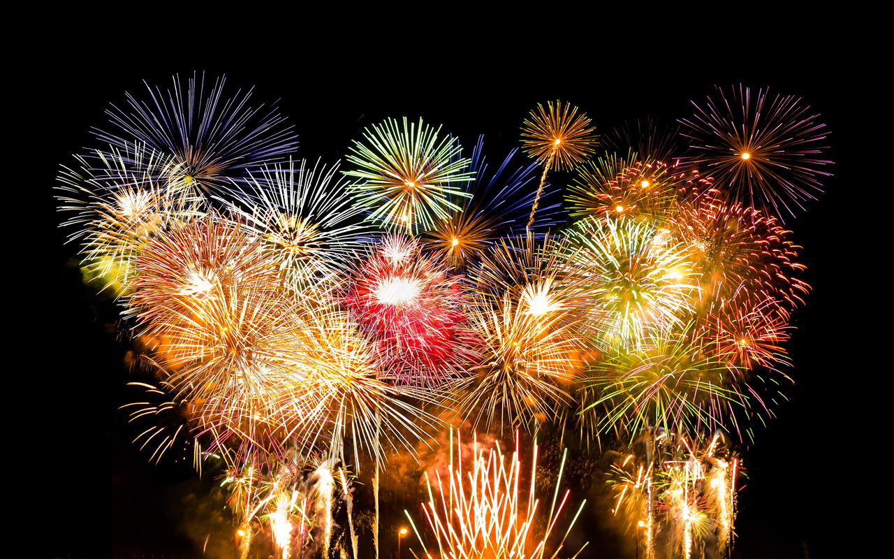 New Years Eve Fireworks computer desktop wallpapers pictures 1280x800