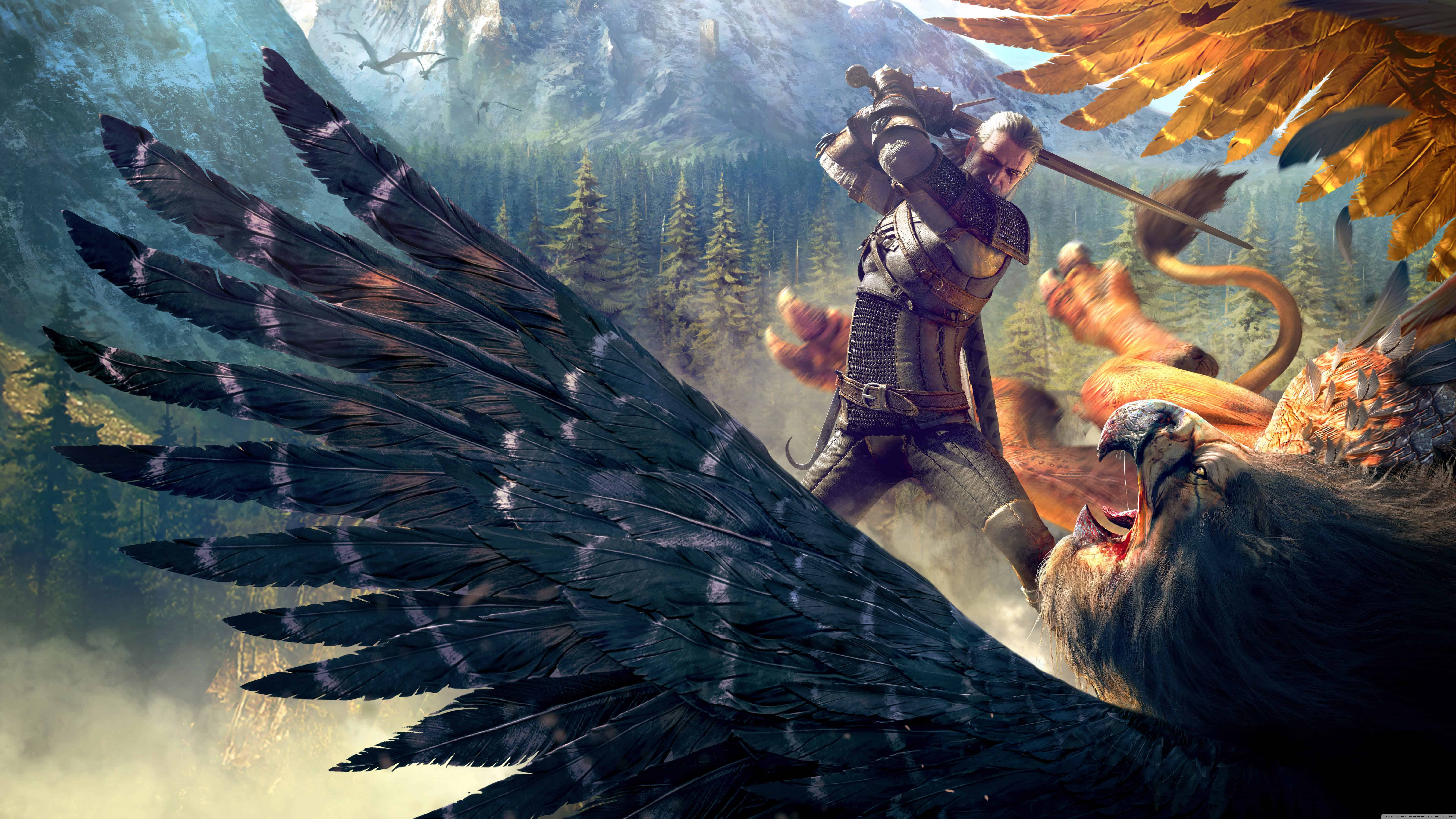 The Witcher 3 Wild Hunt Geralt And A Griffin UHD 8K Wallpaper Pixelz 7680x4320