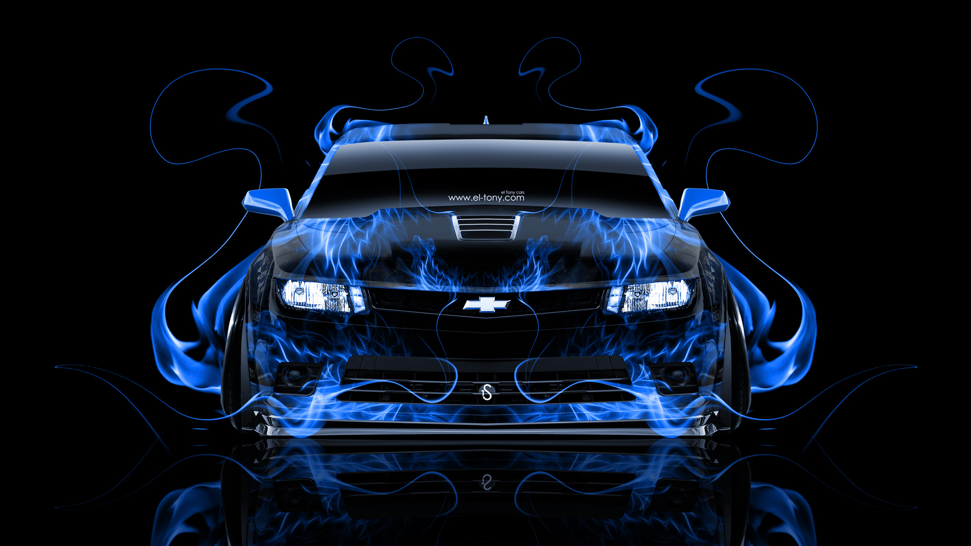 Camaro Z28 Muscle Front Blue Fire Abstract Car 2014 HD Wallpapers 1920x1080