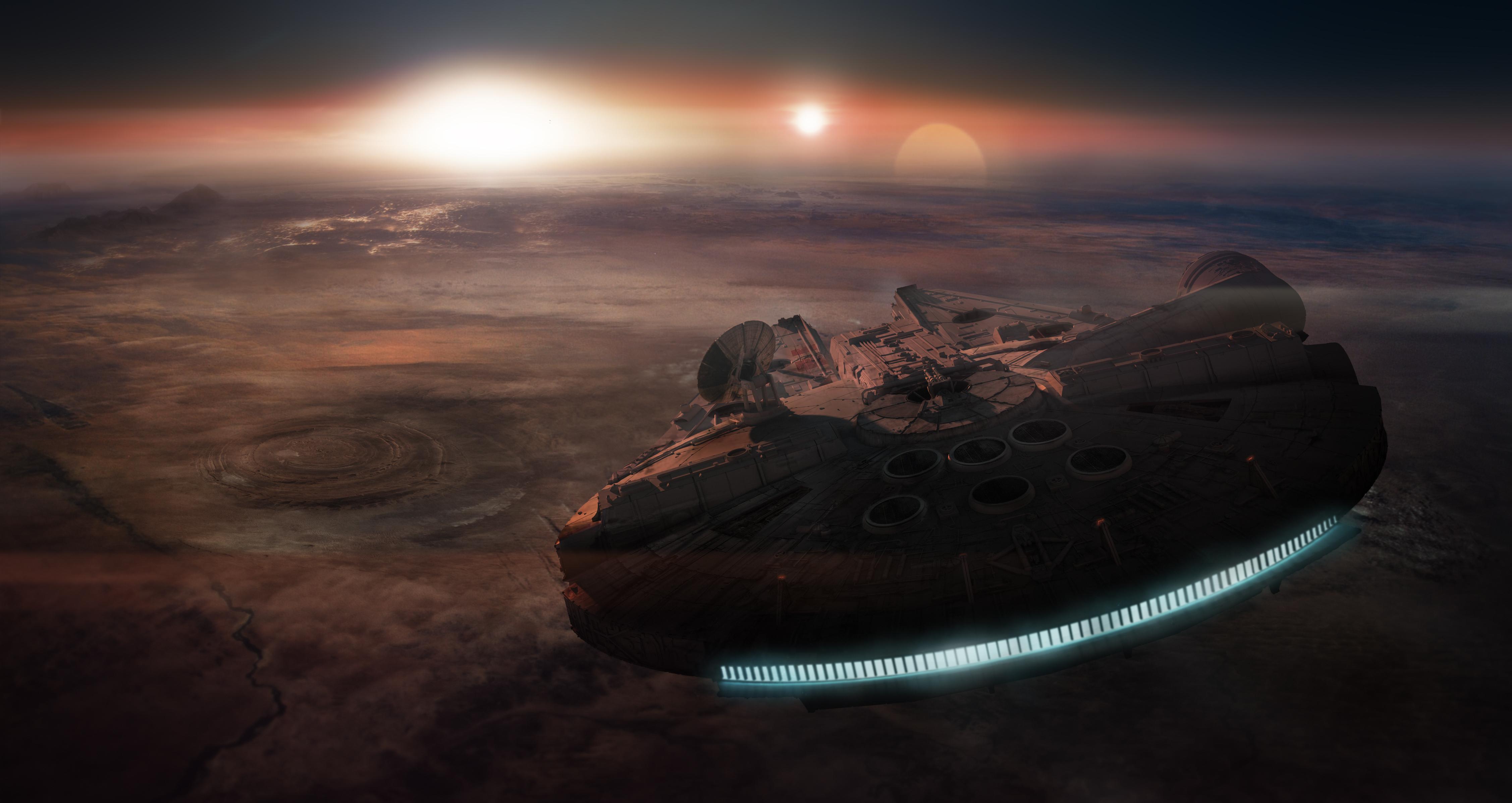 Millennium Falcon Over Tatooine by uPandazoic [4509x2306] iimgur 4509x2396