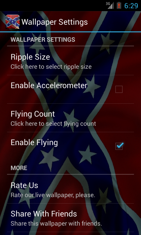 Rebel Flag Live Wallpaper   screenshot 480x800