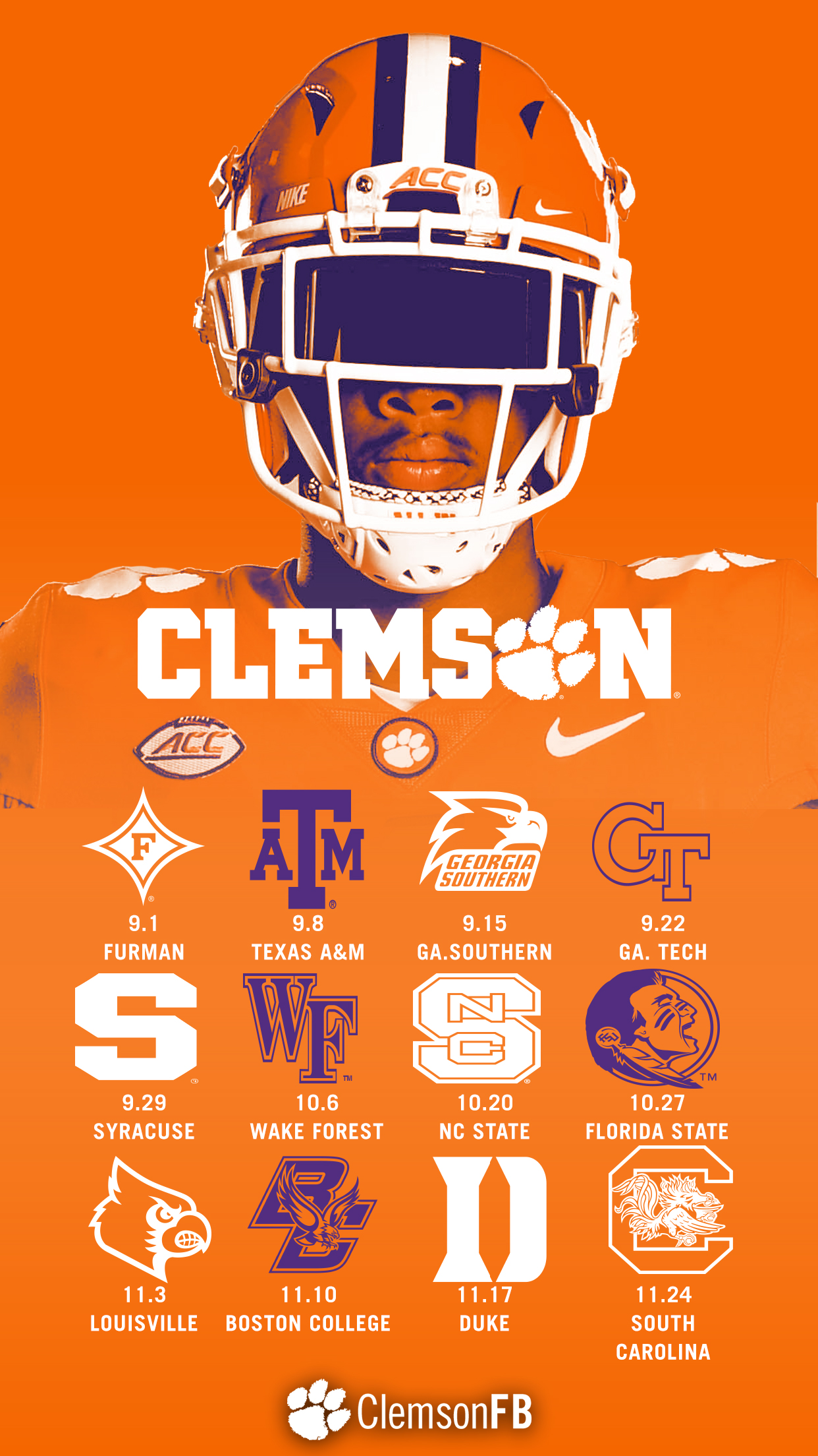 Phone Wallpapers Clemson Tigers Official Athletics Site 1242x2208