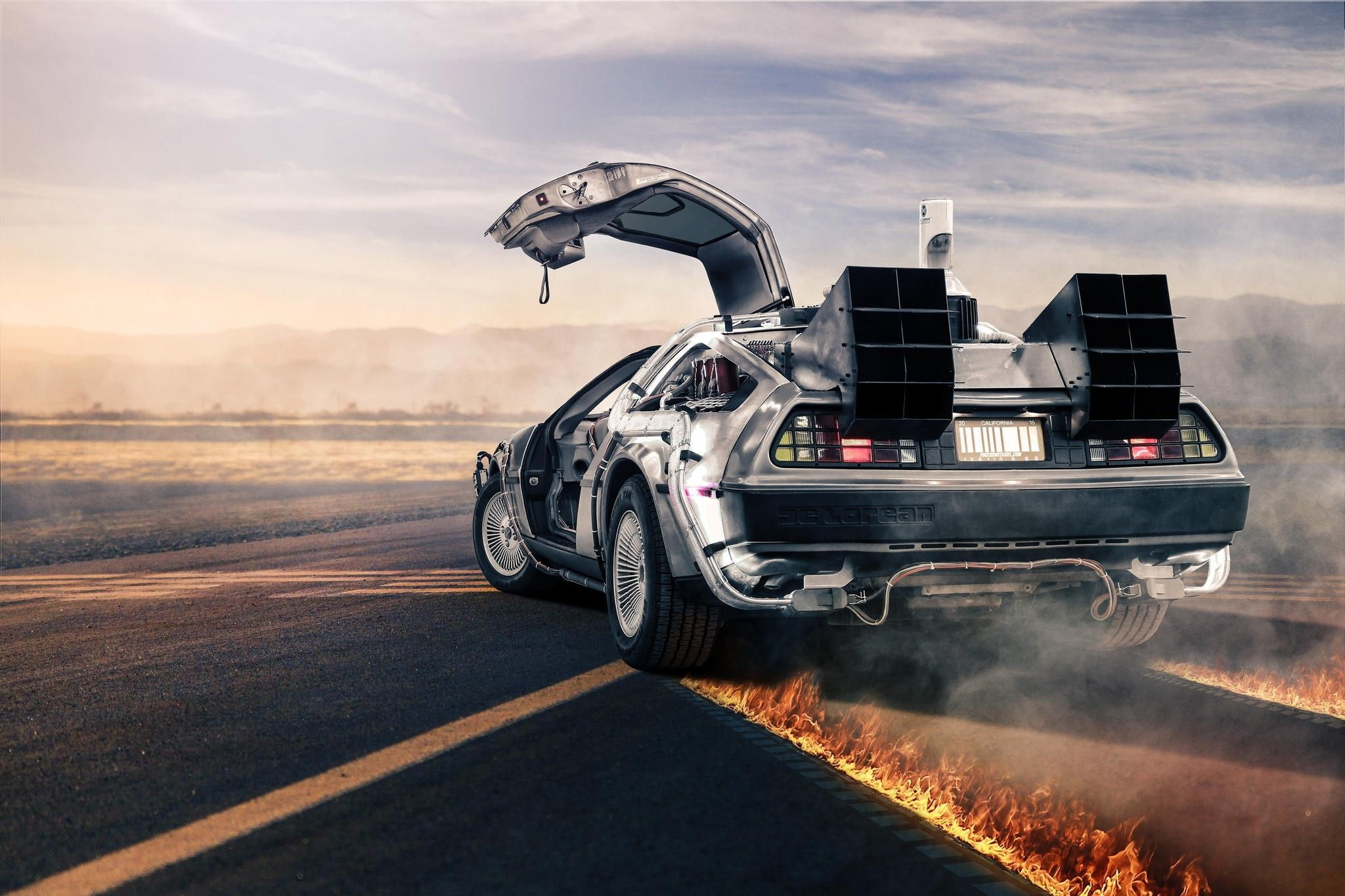 back to the future delorean movies car wallpaper and background 2048x1365