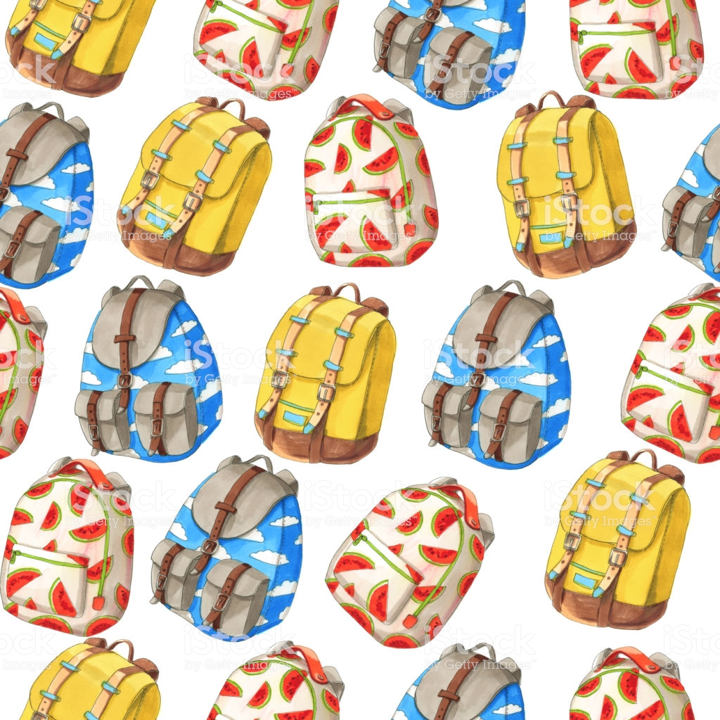 Watercolor Illustartion Seamless Pattern Of Colorful Backpacks 1024x1024