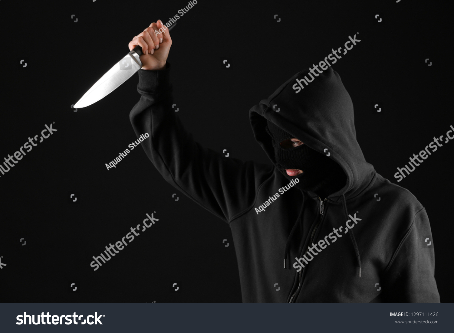Bandit Knife On Dark Background Stock Photo Edit Now 1297111426 1500x1101