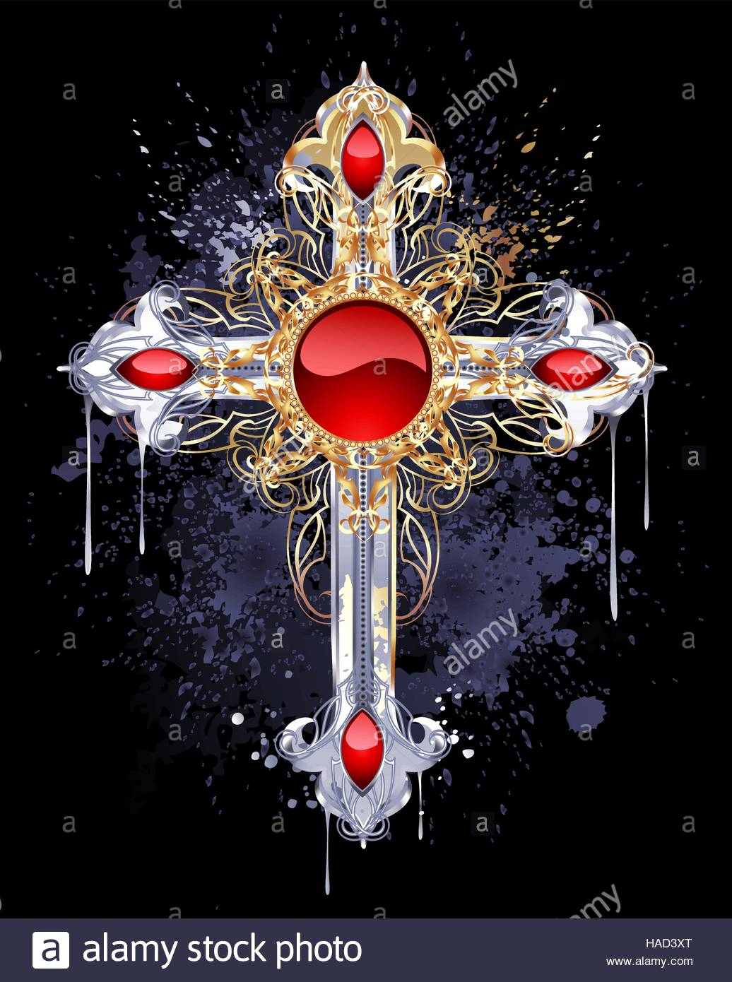 jewelry Gothic cross of silver and gold adorned with rubies and 1036x1390
